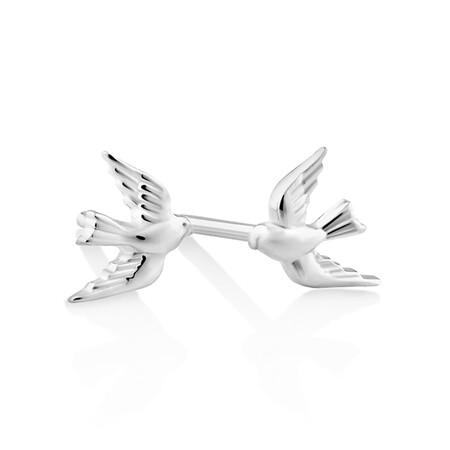 Bluebird Stud Earrings In Sterling Silver