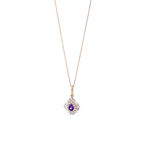 Ballerina Pendant with Amethyst & 0.25 Carat TW of Diamonds in 10ct Rose Gold