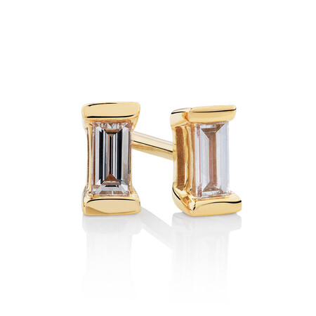 Rectangle Stud Earrings with 0.12 Carat TW of Diamonds in 10ct Yellow Gold