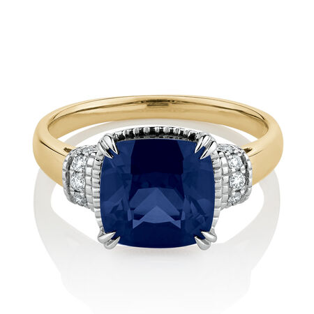 Ring with Created Sapphire & Diamonds in 10ct Yellow & White Gold