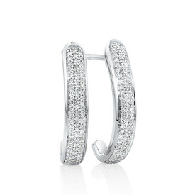 Hoop Earrings with 0.25 Carat TW of Diamonds in 10ct White Gold
