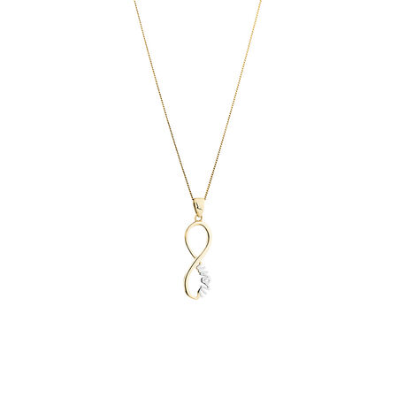 Mom Pendant in 10ct Yellow & White Gold