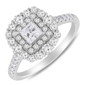 Halo Ring with 1.00 Carat TW of Diamonds in 10ct White Gold