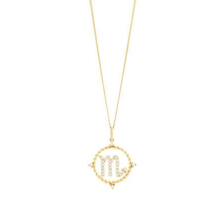 Scorpio Zodiac Pendant with 0.20 Carat TW of Diamonds in 10ct Yellow Gold