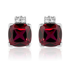 Online Exclusive - Stud Earrings with Created Ruby & Diamonds in 10ct White Gold