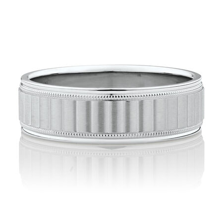 Patterned Wedding Band in 10ct White Gold