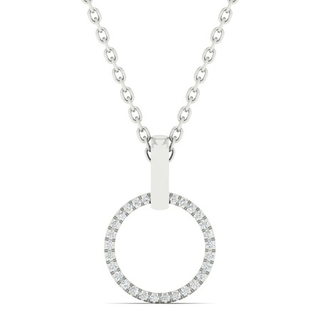 Circle Pendant with Diamonds in 10ct White Gold