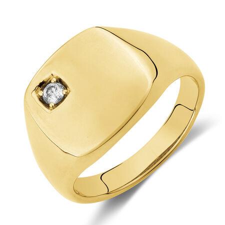 Diamond Set Signet Ring in 10ct Yellow Gold