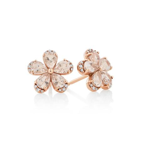 Flower Stud Earrings with Morganite & Diamonds in 10ct Rose Gold