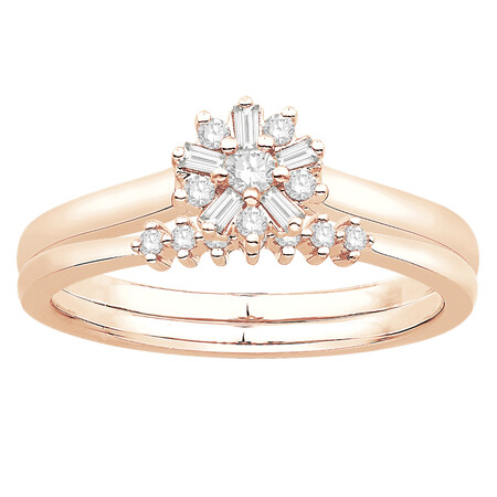 Bridal Set with 0.20 Carat TW of Diamonds in 10ct Rose & White Gold
