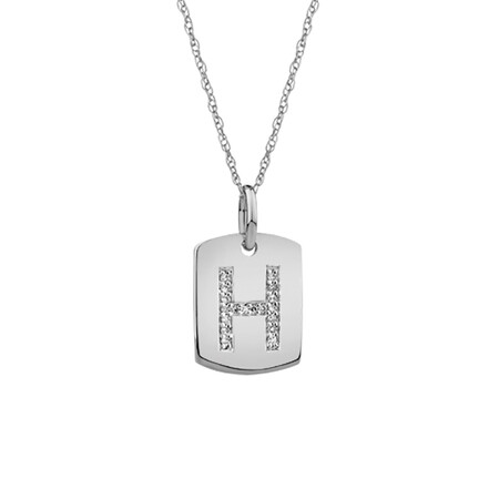 """H"" Initial Rectangular Pendant With Diamonds In 10ct White Gold"