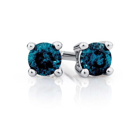 Stud Earrings with 1/4 Carat TW of Enhanced Blue Diamonds in 10ct White Gold