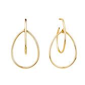 Double Pear Hoop Earrings In 10ct Yellow Gold