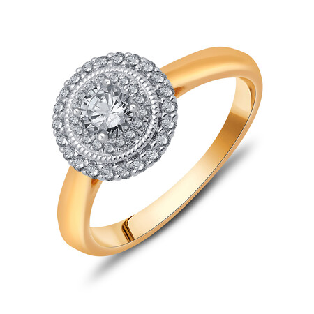Ring with 0.52 Carat TW of Diamonds in 10ct Yellow & White Gold