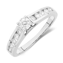 Online Exclusive - Engagement Ring with 0.59 Carat TW of Diamonds in 14ct White Gold