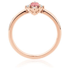 Stacker Ring with Diamonds & Pink Tourmaline in 10ct Rose Gold
