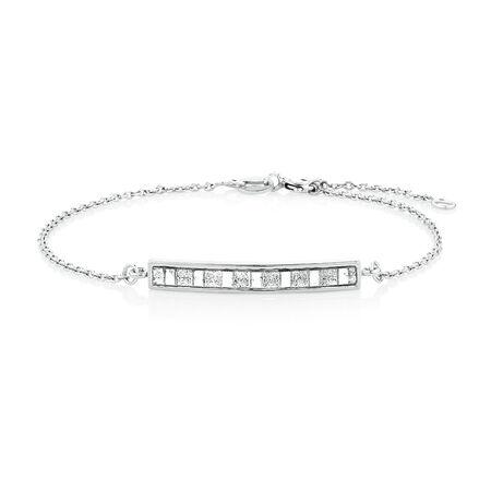 "19cm (7.5"") Glitter Bar Bracelet in Sterling Silver"