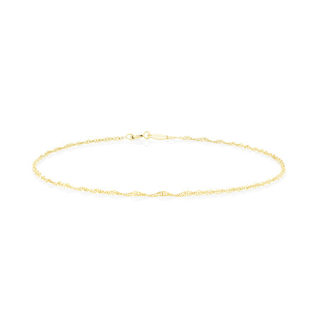 Singapore Anklet in 10ct Yellow Gold