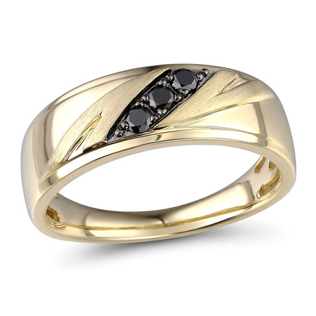 Ring with 0.18 Carat TW of Enhanced Black Diamonds in 10ct Yellow Gold