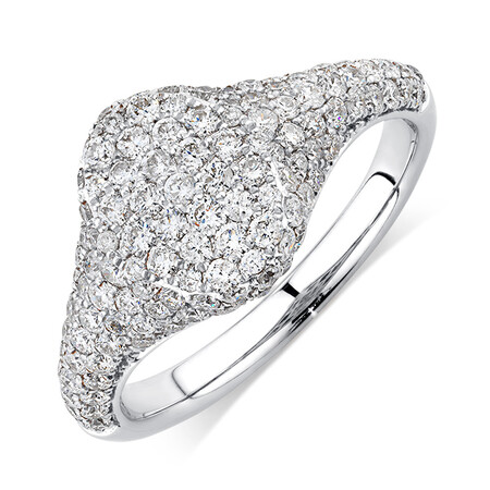 Signet Ring with 1 Carat TW of Diamonds in 10ct White Gold