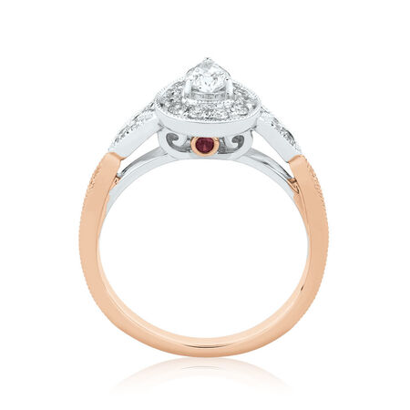 Sir Michael Hill Designer GrandAmoroso Engagement Ring with 0.71 Carat TW of Diamonds in 14ct White & Rose Gold
