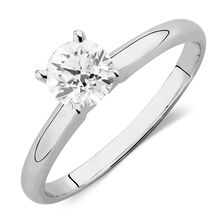 Solitaire Engagement Ring with a 0.69 Carat Diamond in 14ct White Gold