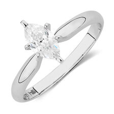 Solitaire Engagement Ring with 0.47 Carat TW of Diamonds in 18ct White Gold