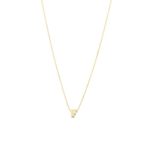 """F"" Initial Necklace in 10ct Yellow Gold"
