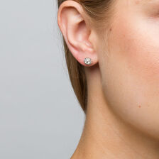 Michael Hill Designer Allegro Stud Earrings with 1/2 Carat TW of Diamonds in 14ct White & Rose Gold