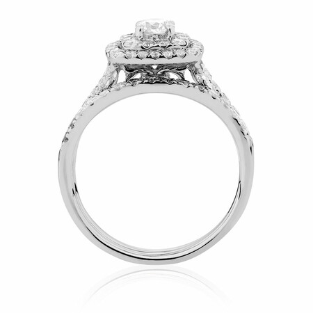 Bridal Set with 1.18 Carat TW of Diamonds in 14ct White Gold