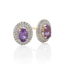 Earrings with Amethyst & 0.16 Carat TW of Diamonds in 10ct Yellow Gold