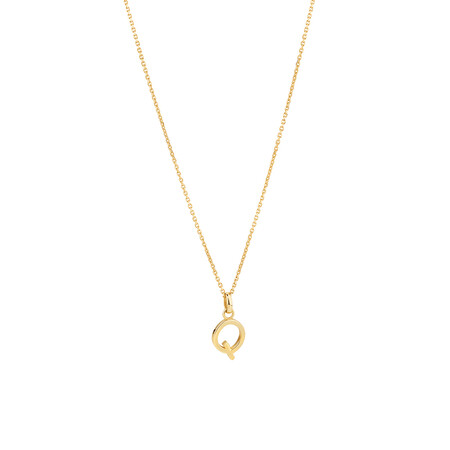 """""""Q"""" Initial Pendant with Chain in 10ct Yellow Gold"""