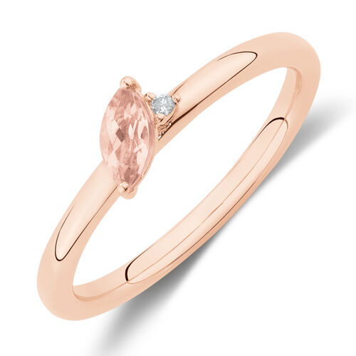 Stacker Ring with Diamond & Morganite in 10ct Rose Gold