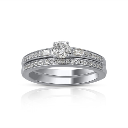 Bridal Set with 0.50 Carat TW of Diamonds in 14ct White Gold