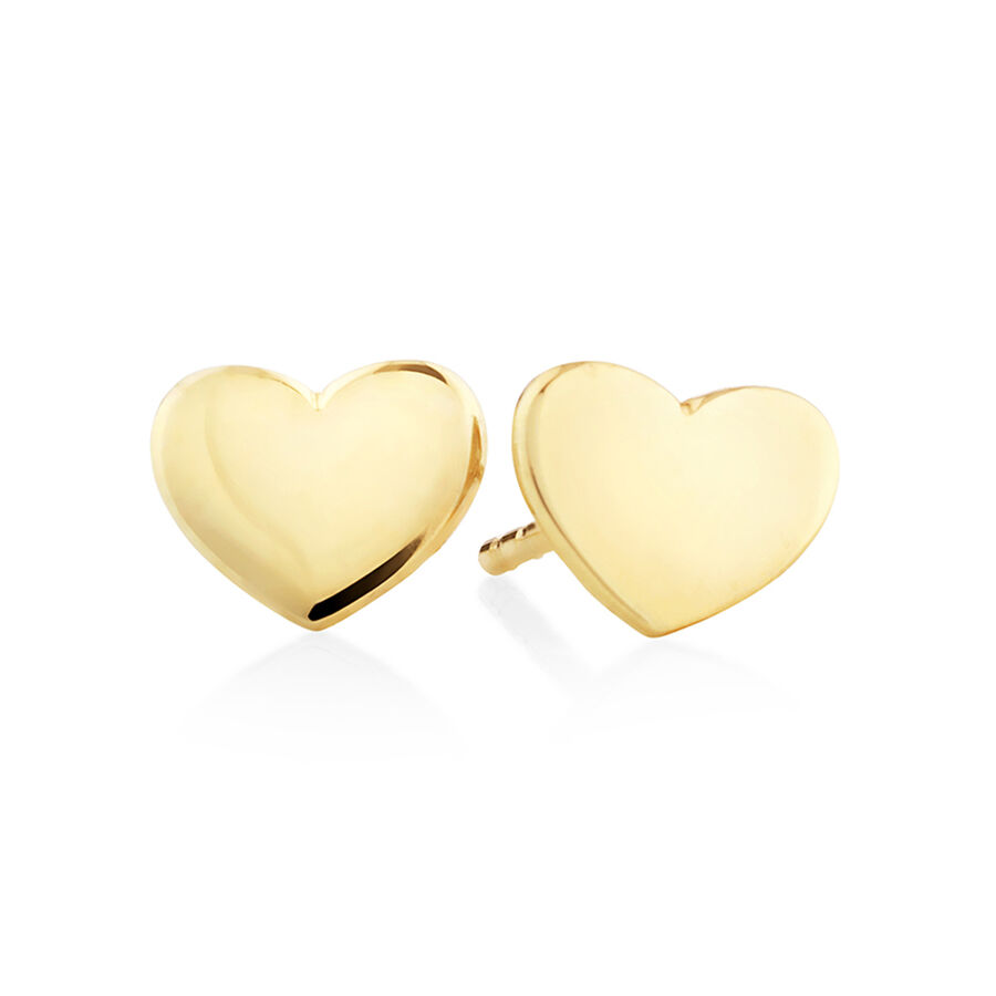 Polished Heart Stud Earrings In 10ct Yellow Gold