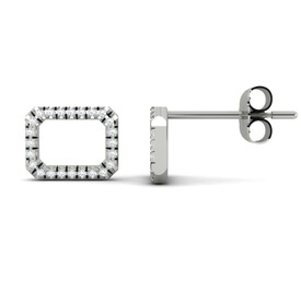 Rectangle Studs Earrings with Diamonds in 10ct White Gold