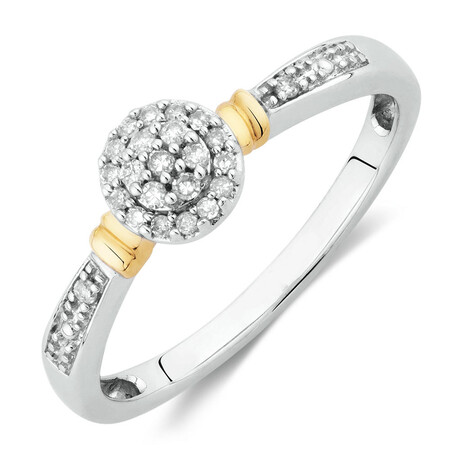 Promise Ring with Diamonds in 10ct White & Yellow Gold