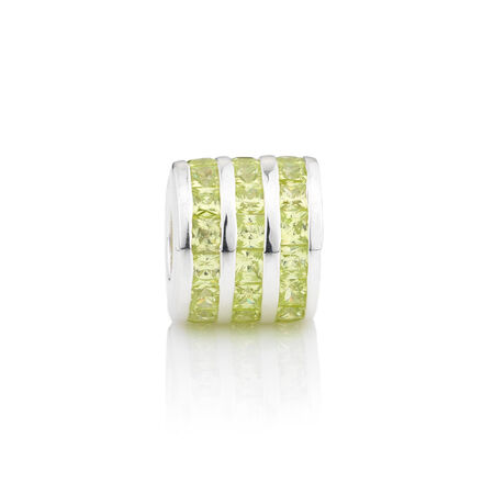 Online Exclusive - Triple Row Charm with Green Cubic Zirconia in Sterling Silver