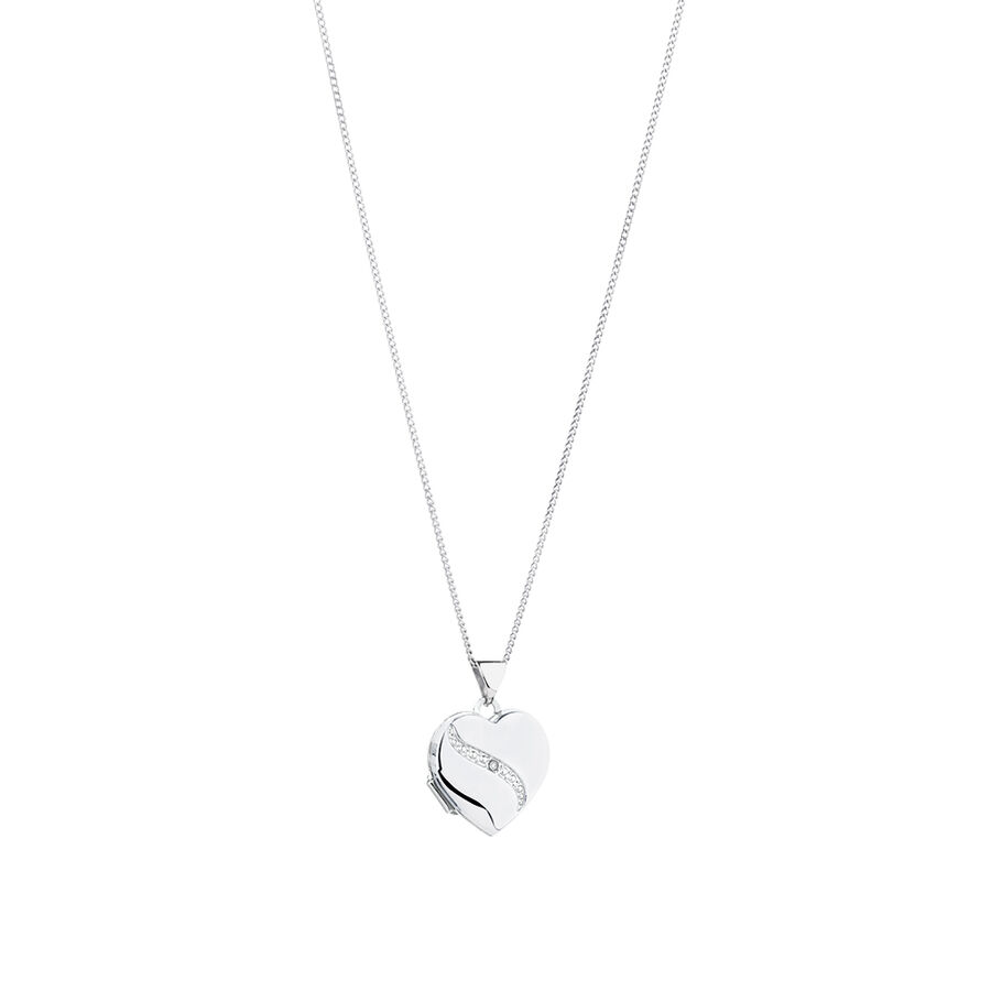 Diamond Heart Locket in 10ct White Gold & Sterling Silver
