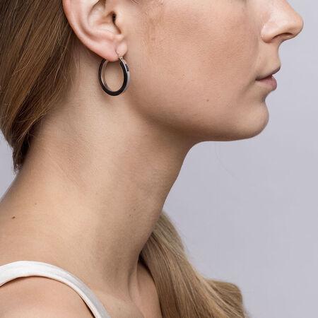 26mm Square Hoop Earrings in Sterling Silver