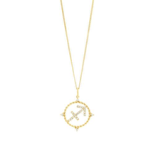 Sagittarius Zodiac Pendant with 0.15 Carat TW of Diamonds in 10ct Yellow Gold