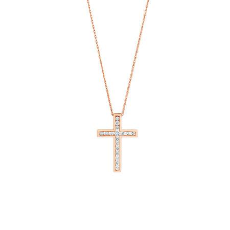 Cross Pendant With 0.34 Carat TW of Diamonds in 10ct Rose Gold