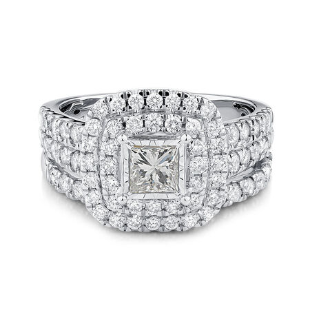 Bridal Set with 2 Carat TW of Diamonds in 14ct White Gold