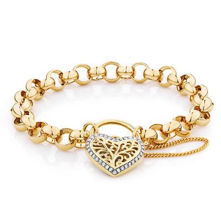 "19cm (7.5"") Belcher Bracelet with 0.30 Carat TW of Diamonds in 10ct Yellow Gold"
