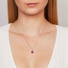 Online Exclusive - Pendant with Amethyst & Diamond in 10ct White Gold