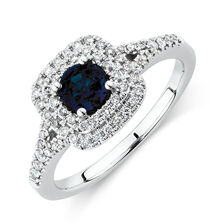 Michael Hill Designer Ring With Sapphire & 1/4 Carat TW Of Diamonds In 10ct White & Rose Gold