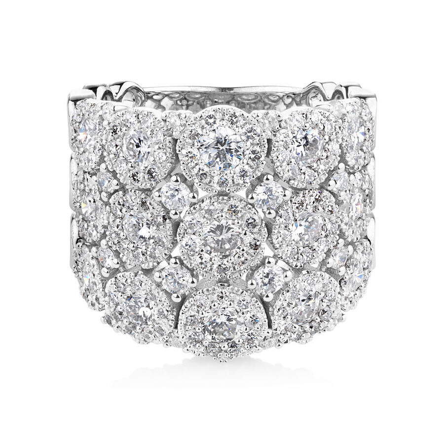 Bubble Ring with 3 Carat TW of Diamonds in 14ct White Gold