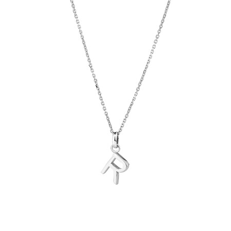 """""""R"""" Initial Pendant in Sterling Silver"""