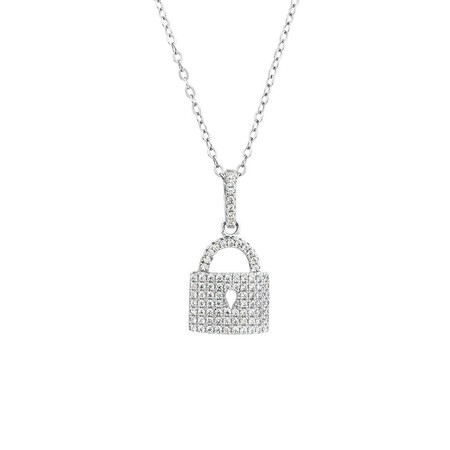 Padlock Pendant with Luxe Cubic Zirconia in Sterling Silver