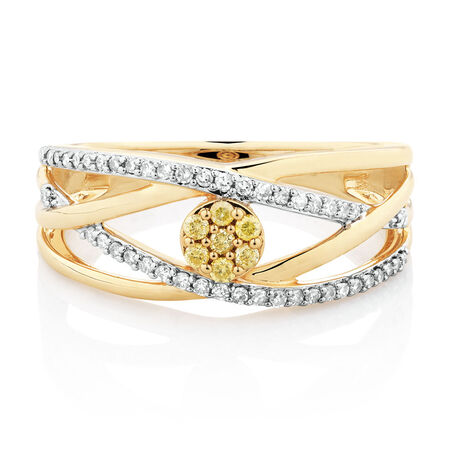 Ring with 1/4 Carat TW of Yellow & White Diamonds in 10ct Yellow Gold